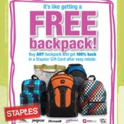 Get a FREE backpack after Rebate at STAPLES